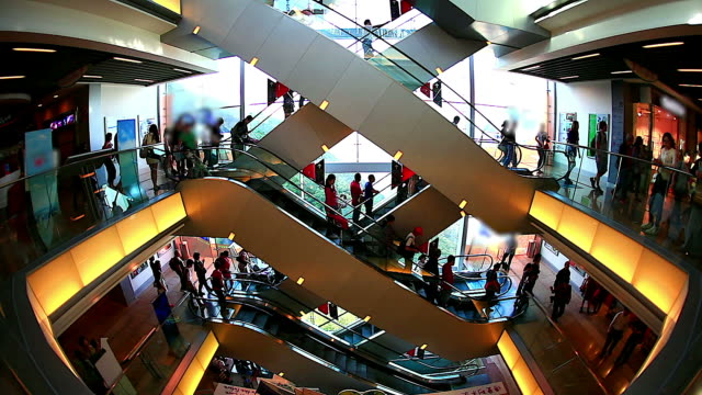 HD:Crowd people moving on escalator in shopping mall.
