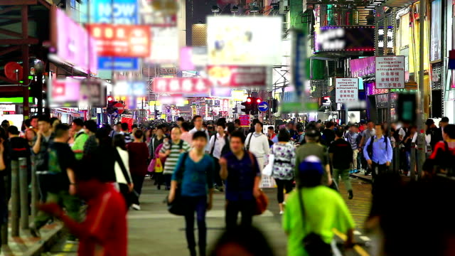 hd:crowd people walking on the road at night. - chinese culture stock videos & royalty-free footage