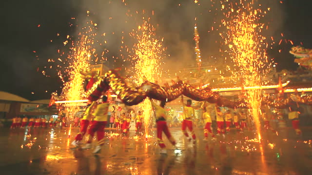 hd:dragon dance. - fairground stock videos and b-roll footage