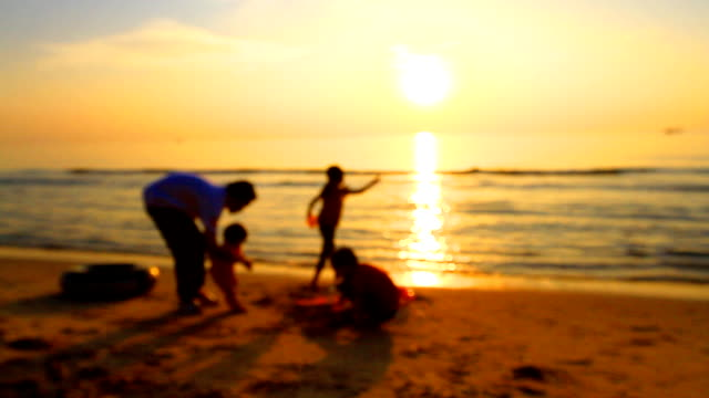 hd:father take care his family.(soft focus) - soft focus stock videos & royalty-free footage