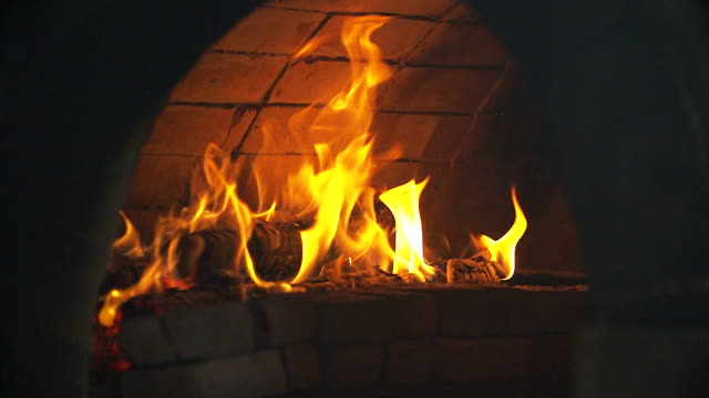 HD:Flames in fireplace.(Slow motion)
