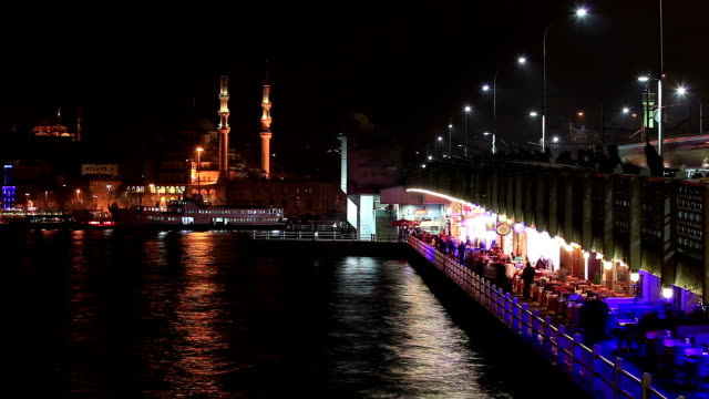 hd:galata bridge, istanbul, turkey - yeni cami mosque stock videos and b-roll footage