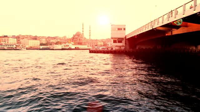 hd:galata bridge, istanbul, turkey - yeni cami mosque stock videos & royalty-free footage