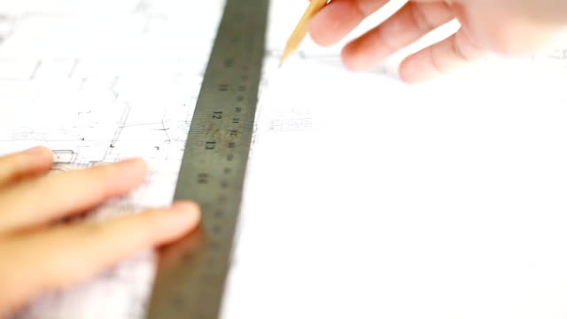 hd:hand checking blueprint work. - architect stock videos & royalty-free footage
