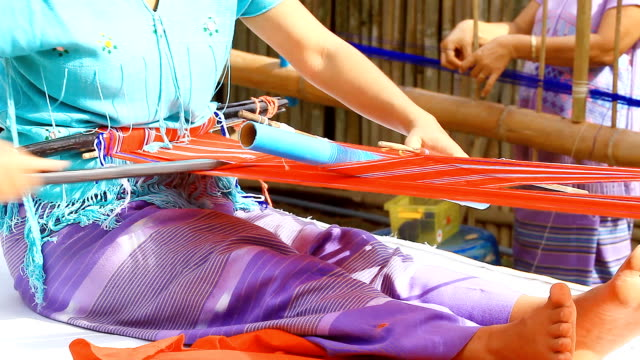 hd:hand weaving on loom in thailand - scarf stock videos & royalty-free footage