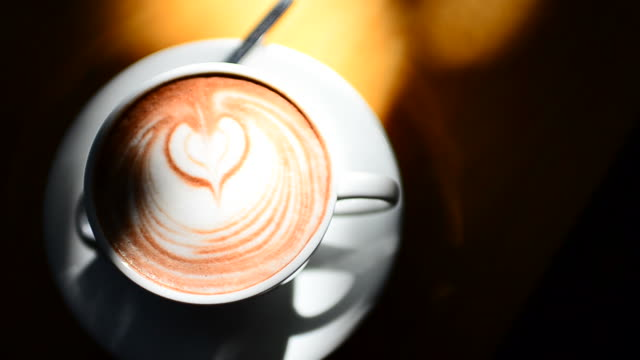 HD:Hot coffee art in the noon for relax time