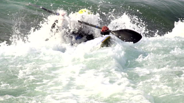 hd:kayaker in the wildwater - rapid stock videos & royalty-free footage