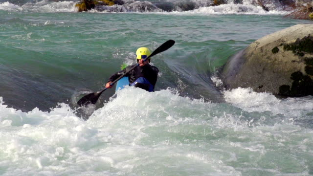 hd:kayaker in the wildwater - recreational boat stock videos & royalty-free footage