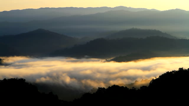 HD:Layers of mountains and fog at sunrise.