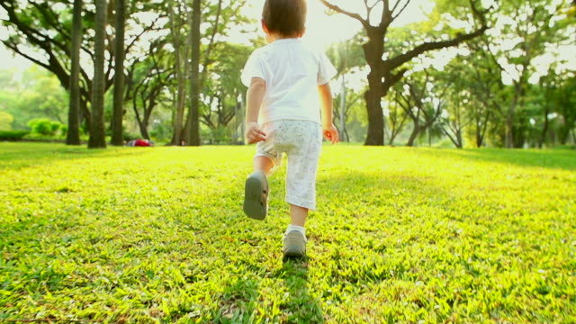 hd:little boy running in nature at the park with sunset background.(slow motion) - hope concept stock videos and b-roll footage