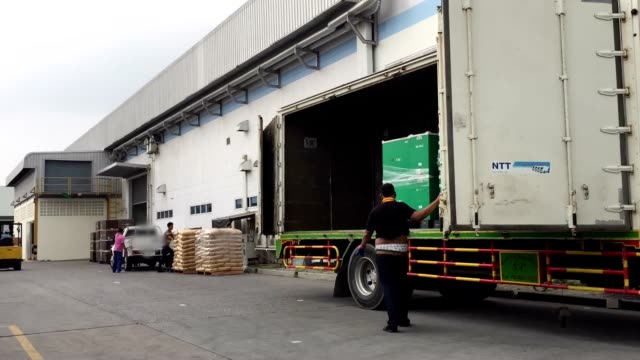 hd:loading product in the trucks at warehouse,time lapse - forklift truck stock videos and b-roll footage