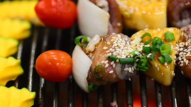 hd:meat grill skewer kebabs on barbecue grill - iron appliance stock videos and b-roll footage