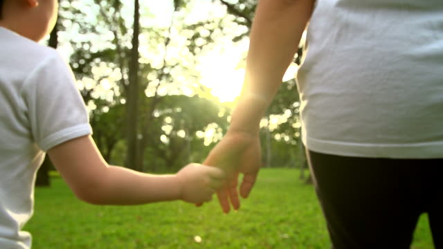 hd:mother and son holding hand and walking in the park. - son stock videos & royalty-free footage