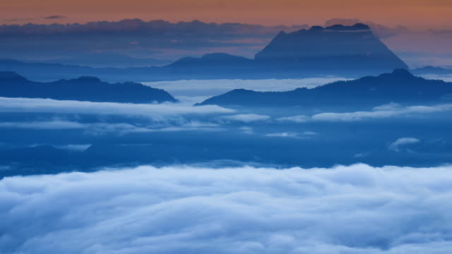 HD:Mountain nature time-lapse of misty clouds fast movement