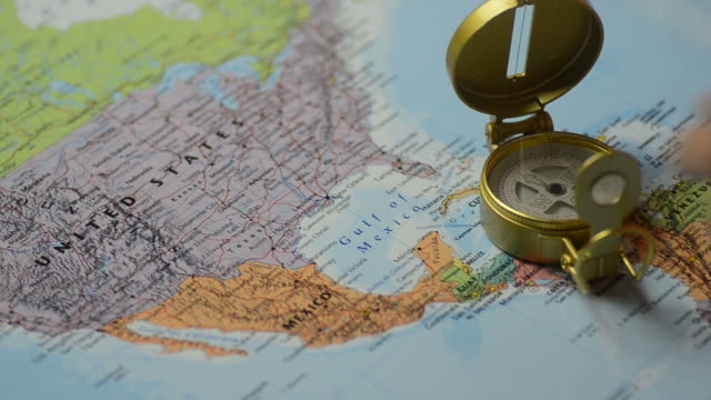 Hdnavigator Compass For Explorer The World Map Stock Footage