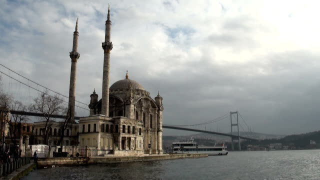 hd:ortakoy mosque istanbul turkey - ortakoy mosque stock videos and b-roll footage