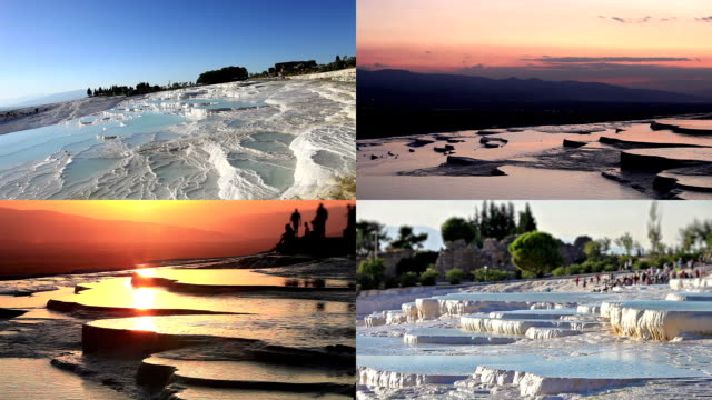 hd:pamukkale (cotton castle) - calcium carbonate stock videos and b-roll footage