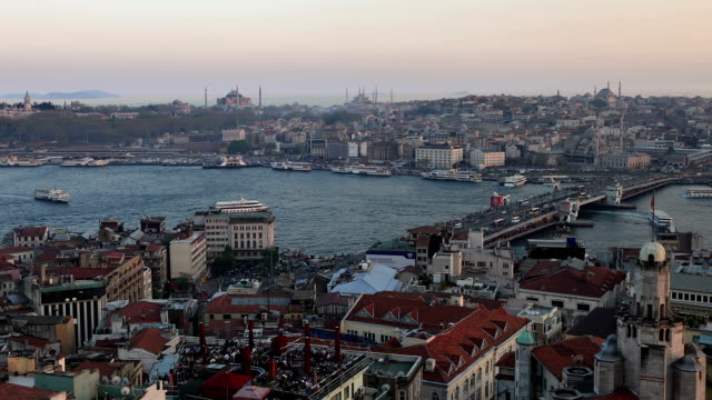 hd:panoramic istanbul scene **time lapse** - yeni cami mosque stock videos & royalty-free footage