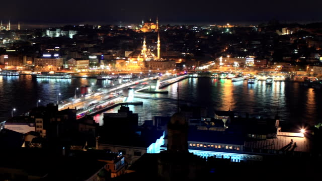 hd:panoramic istanbul scene **time lapse** - golden horn istanbul stock videos and b-roll footage