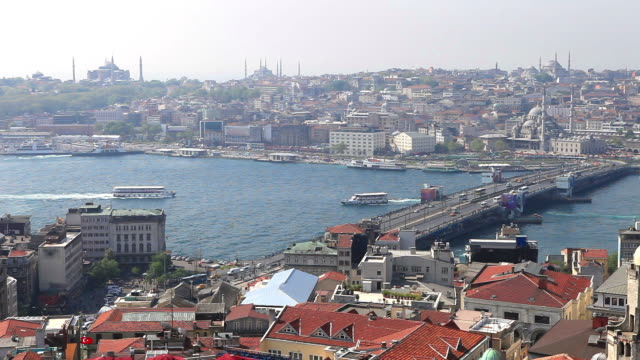 hd:panoramic istanbul scene - yeni cami mosque stock videos and b-roll footage