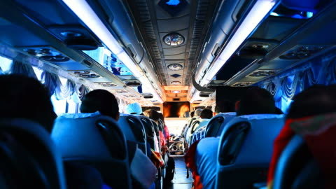 hd:people during travel in the bus. - bus stock videos & royalty-free footage