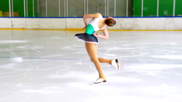 hd:shot of young woman at figure skating - pirouette stock videos and b-roll footage