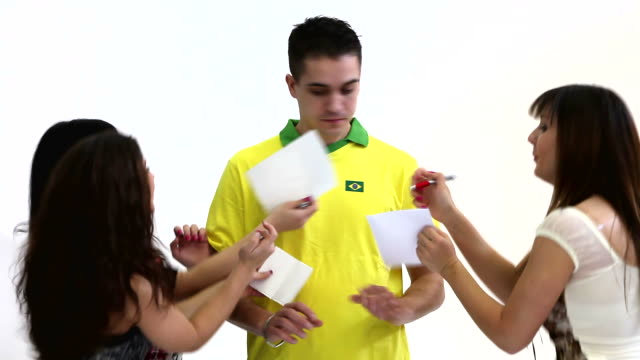 hd:soccer player footballer autographing - autographing stock videos and b-roll footage