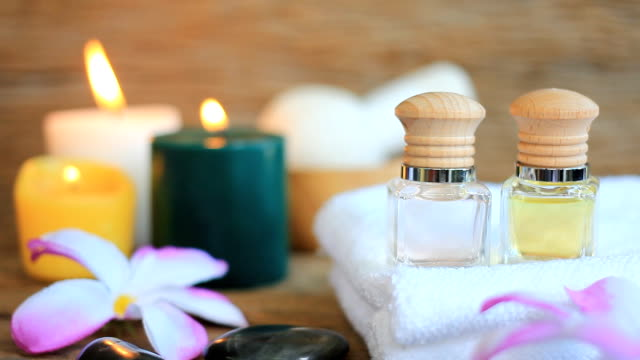 HD:Spa still life of massage oil.