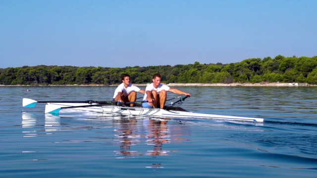 HD:Super Slo-Mo Shot of Double scull rowing team practicing