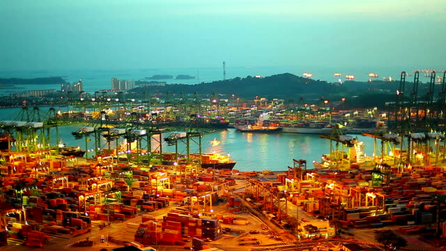 HD:Timelapse of Shipyard in sunset.
