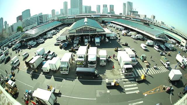 vidéos et rushes de hd :  transport au marché de tsukiji. - mouillé