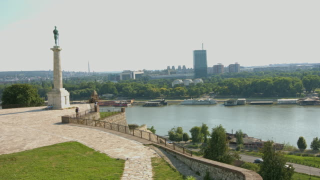 hd:victor monument in belgrade, serbia - fort stock videos & royalty-free footage
