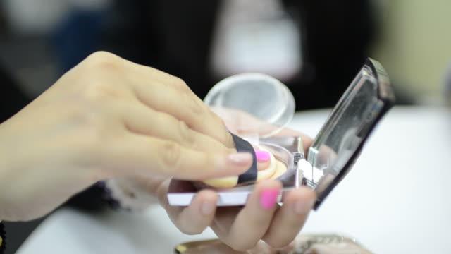 hd:woman use powder cosmetic - talcum powder stock videos & royalty-free footage