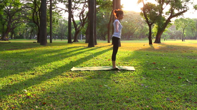 HD:Women practicing of yoga outdoors.