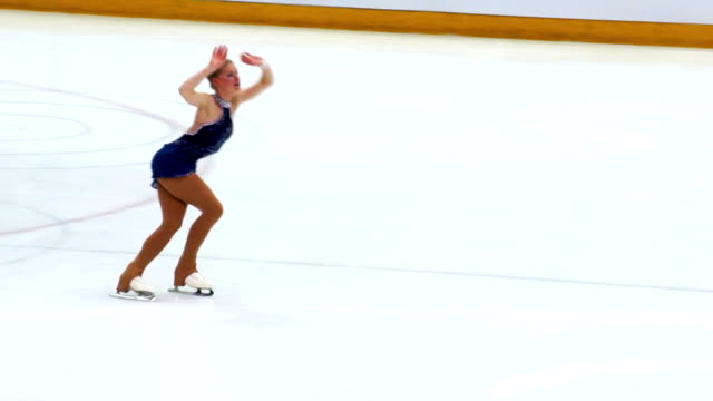hd:young women having figure skating performance - figure skating stock videos and b-roll footage