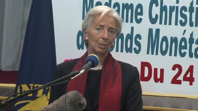 imf head christine lagarde starts a short african tour in bangui where she talks about the vulnerability of the central african economy - vulnerability stock videos and b-roll footage