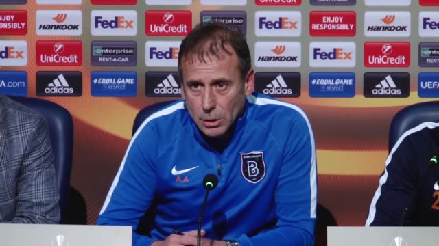 Head Coach Abdullah Avci and player Kerim Frei of Medipol Basaksehir hold a joint press conference ahead of UEFA Europa League Group C soccer match...