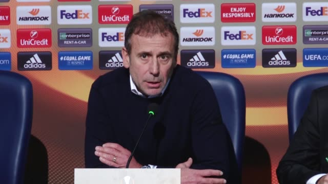 Head Coach Abdullah Avci of Medipol Basaksehir attends a press conference after UEFA Europa League Group C soccer match between Hoffenheim and...