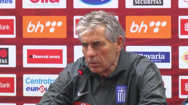 Head coach Angelos Anastasiadis of Greece speaks during a press conference after the UEFA Euro 2020 Group J qualifying match between Bosnia and...