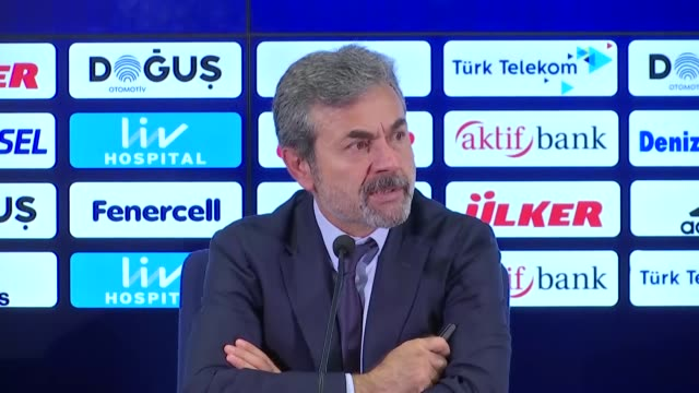Head coach Aykut Kocaman of Fenerbahce holds a press conference after a UEFA Europa League playoff soccer match between Fenerbahce and Vardar at...