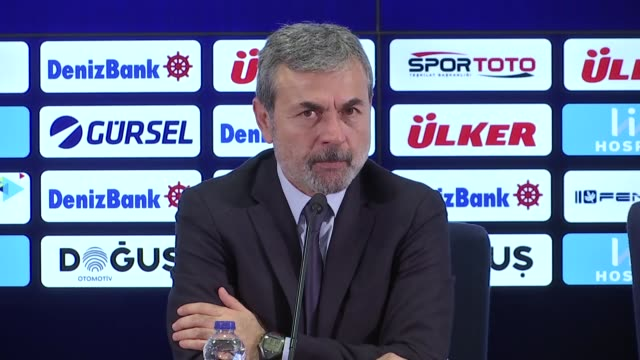 Head coach Aykut Kocaman of Fenerbahce holds a press conference after Turkish Super Lig match between Fenerbahce and Demir Grup Sivasspor at Ulker...