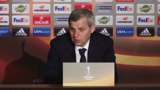 head coach bruno genesio of olympique lyonnais speaks during a press conference after the uefa europa league first leg quarter final soccer match... - parc olympique lyonnais stock videos and b-roll footage