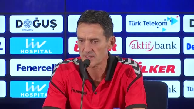 Head coach Cedomir Janevski and Dejan Blazevski of Vardar hold a press conference ahead of a UEFA Europa League playoff match between Fenerbahce and...