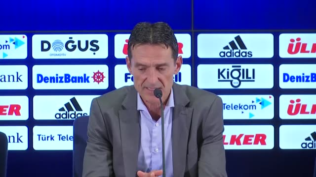 Head coach Cedomir Janevski of Vardar holds a press conference after a UEFA Europa League playoff soccer match between Fenerbahce and Vardar at Ulker...
