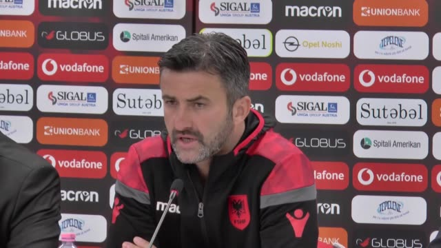 Head coach Christian Panussi of Albania holds a press conference after the UEFA Euro 2020 Group H qualifying match between Albania and Turkey at Loro...