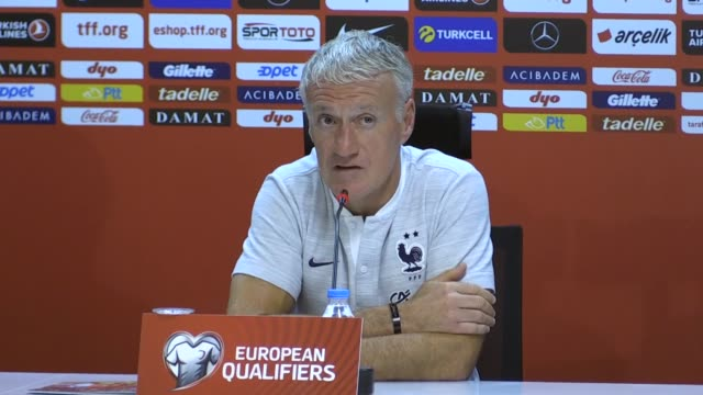 head coach didier deschamps of france holds a press conference ahead of the european qualifiers group h match between turkey and france for uefa euro... - konya stock videos and b-roll footage