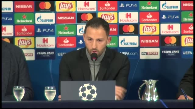 Head coach Domenico Tedesco of Schalke 04 holds a press conference after the UEFA Champions League Group D match between Schalke 04 and Galatasaray...