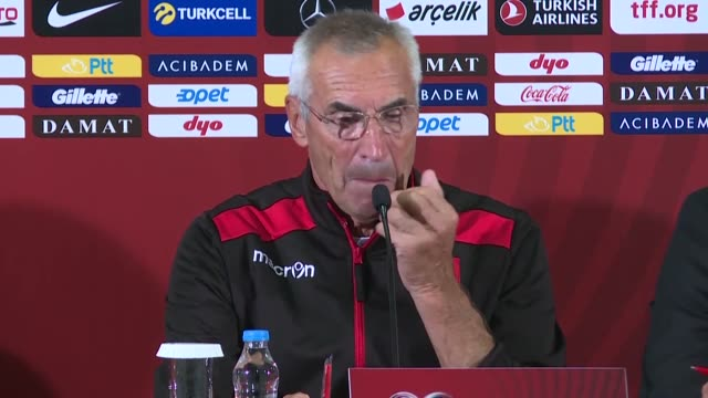 head coach edoardo reja of turkey holds a press conference after the uefa euro 2020 qualifying round group h group match between turkey and albania... - international team soccer stock videos & royalty-free footage