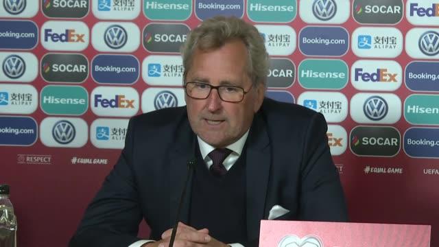 Head coach Erik Hamren of Iceland holds a press conference at Laugardalsvollur Stadium in Reykjavik Iceland on June 11 2019 after Iceland beat Turkey...