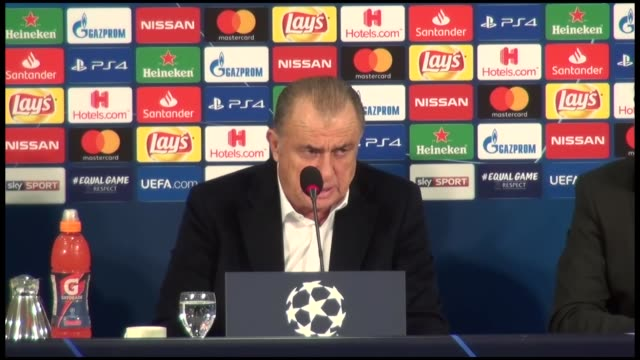 Head coach Fatih Terim of Galatasaray holds a press conference after the UEFA Champions League Group D match between Schalke 04 and Galatasaray at...